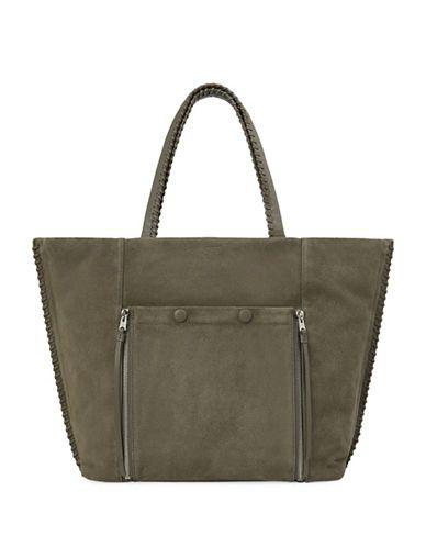ALLSAINTS ALLSAINTSCapital Fleur De Lis East West Suede and Leather Tote. #allsaints #bags #hand bags #suede #tote #