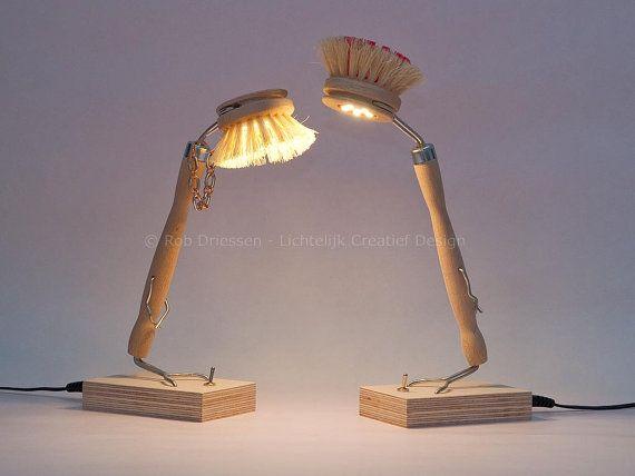 Set of 2 funny led lamps #lightobject #handmade #ledlight #madeinholland #gadget #desklamp #redesign #afwasborstel