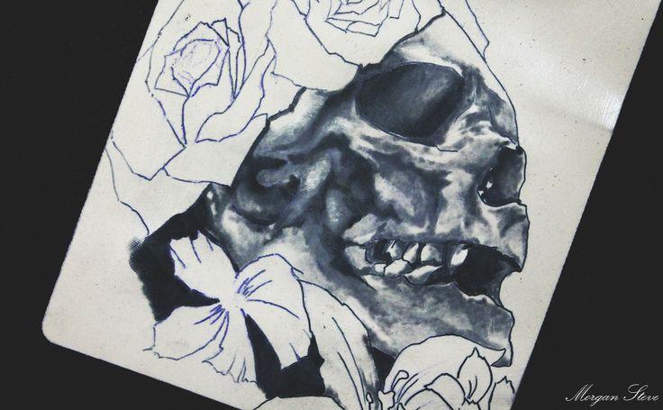 New tattoo su pelle sintetica realizzato da me Morgan Steve #skull #tattoo #blacktatoo #white  #drawing #art #disegno #flowers