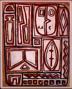 Joaquín Torres García -Composición en rojo, blanco y negro, año 1938. Pintor, profesor y escritor. Uruguay, Montevideo.