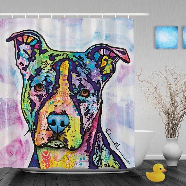 Soulful Pitbull Dog Pop Art Waterproof Shower Curtain Lovely Animal Bathroom Curtains High Quality Home Decor Bath