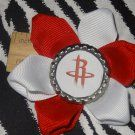 Sporty Bottlecap Flower NBA Basketball Houston Rockets R Logo Hair Bow ~ Free Shipping