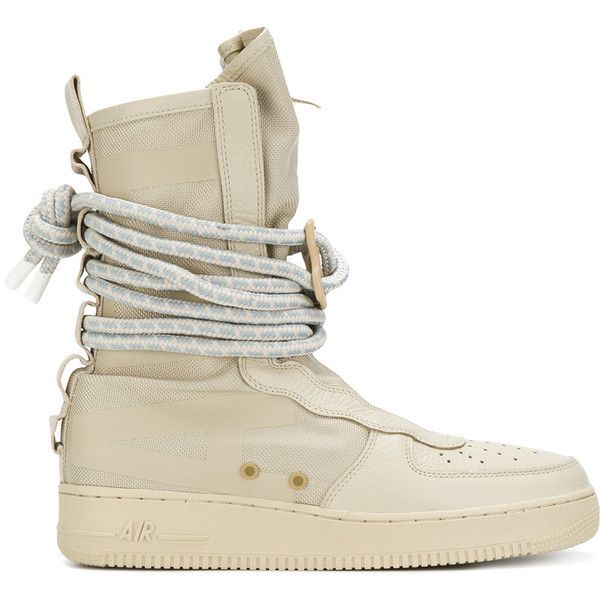 Nike SF Air Force 1 Hi boots ($218) ❤ liked on Polyvore featuring men's fashion, men's shoes, men's boots, nike mens boots, mens round toe cowboy boots, mens military boots, mens rubber sole shoes and mens round toe shoes