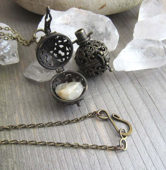 Wiccan locket moonstone pendant amulet prayer box necklace jewelry secret compartment pagan wicca witchcraft metaphysics new age medieval