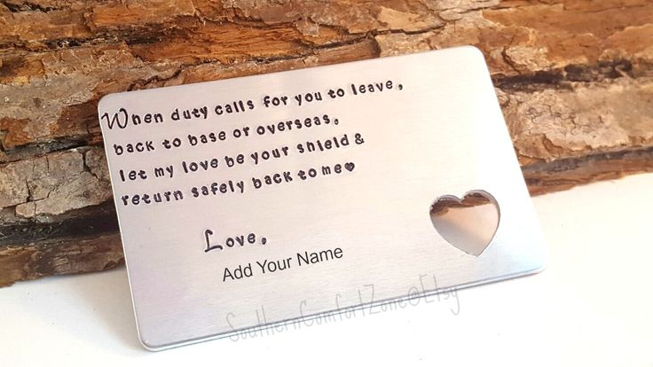 Military  Wallet Card - Personalized Gift - Army - Marine Corp - Navy - Air Force - Coast Guard - Girlfriend - Wife - Deployment - Custom by SouthernComfortZone on Etsy
