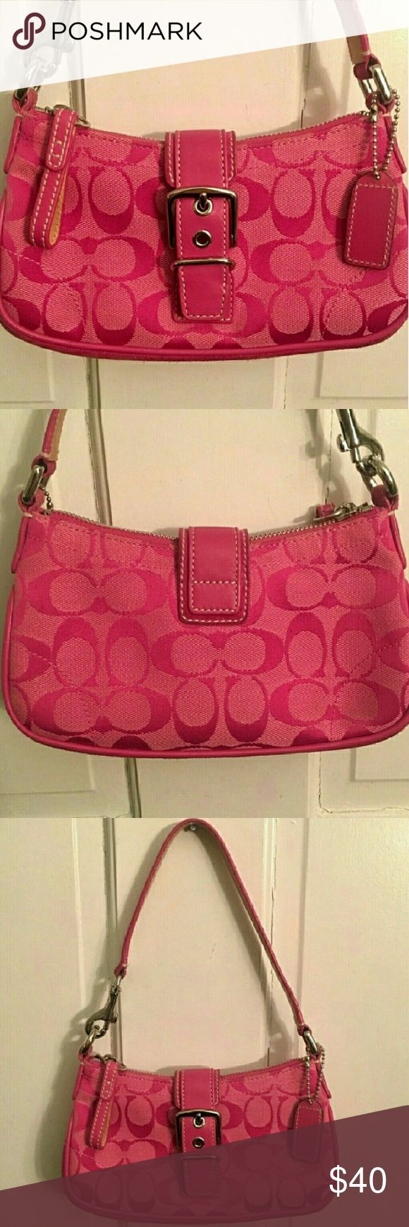 Hot pink coach purse Small pink coach purse. Has Zipper closure aswel as magnetic strap. Used a handful of times but still in great shape. Please note there is a small dot on the inside of the purse as shown in the last photo which was made from a pen. If you have any questions I'm happy to answer. Offers are welcome. Coach Bags Shoulder Bags
