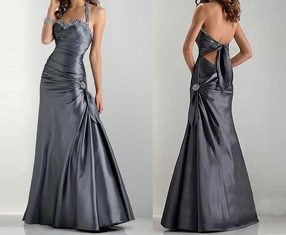 silver prom dress long silver dress metaillic silver by okbridal