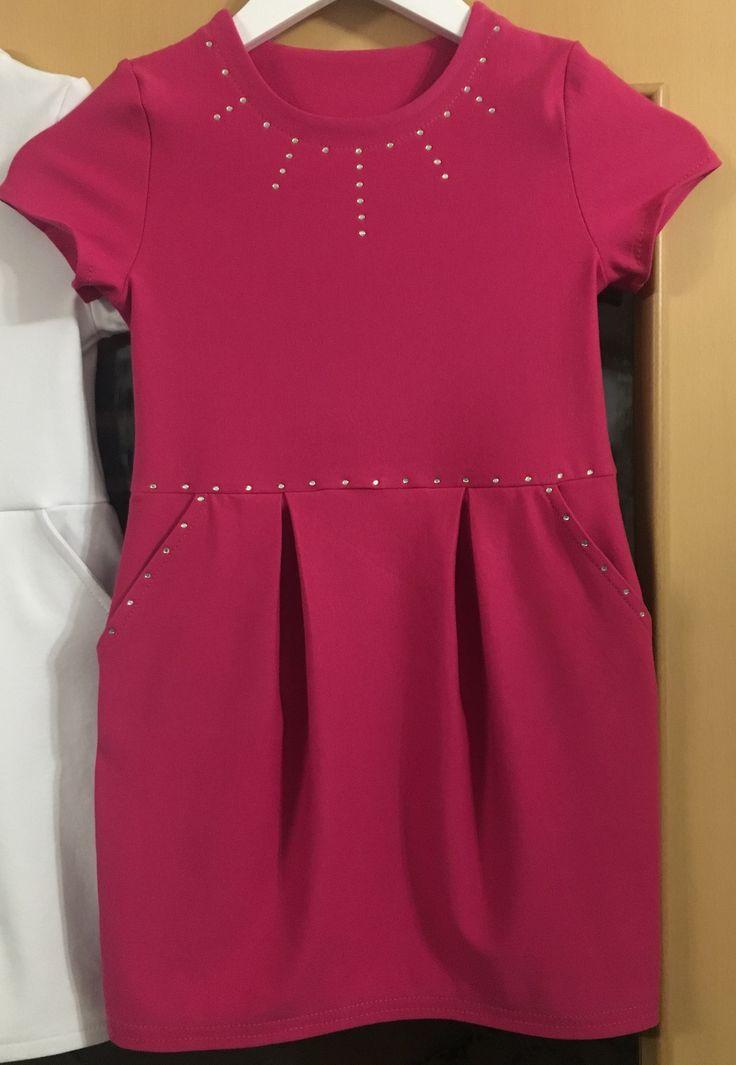 """Pattydoo-Kinderkleid """"Rosa"""" in rosa aus Sommersweat mit Hotfix-Strass verziert"""