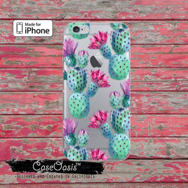Cactus Pattern Green Cacti Watercolor Tumblr Clear Case iPhone 6 Plus iPhone 6s iPhone 6s Plus iPhone 5 iPhone 5c iPhone SE iPhone 7 + Case