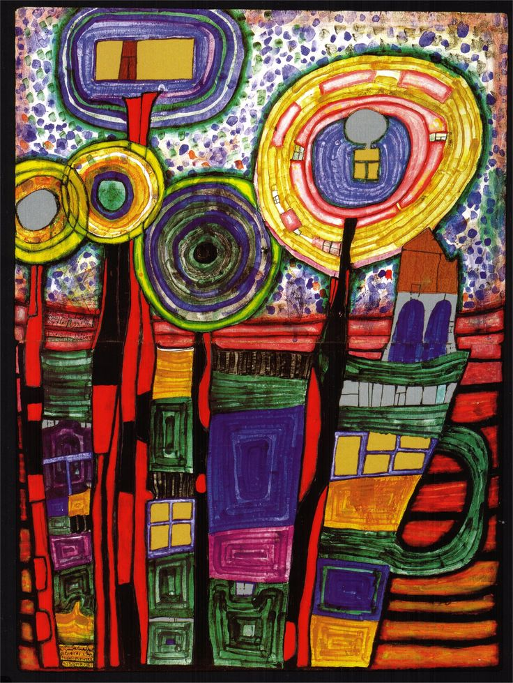 Art Paintings | ... Hundertwasser Paintings, 1991 silent flowers | Paintings Art Gallery