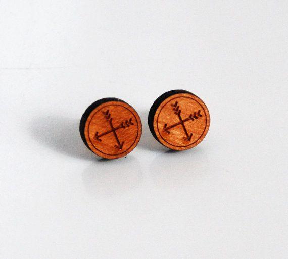 Wood Post Earrings Men's Post Earrings by FerozasjewelryForMen, $18.00