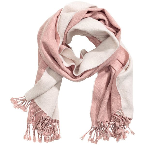 Jacquard-weave scarf 59.90 ($13) ❤ liked on Polyvore featuring accessories, scarves, pink shawl, fringe shawl, pink scarves, fringe scarves and short scarves