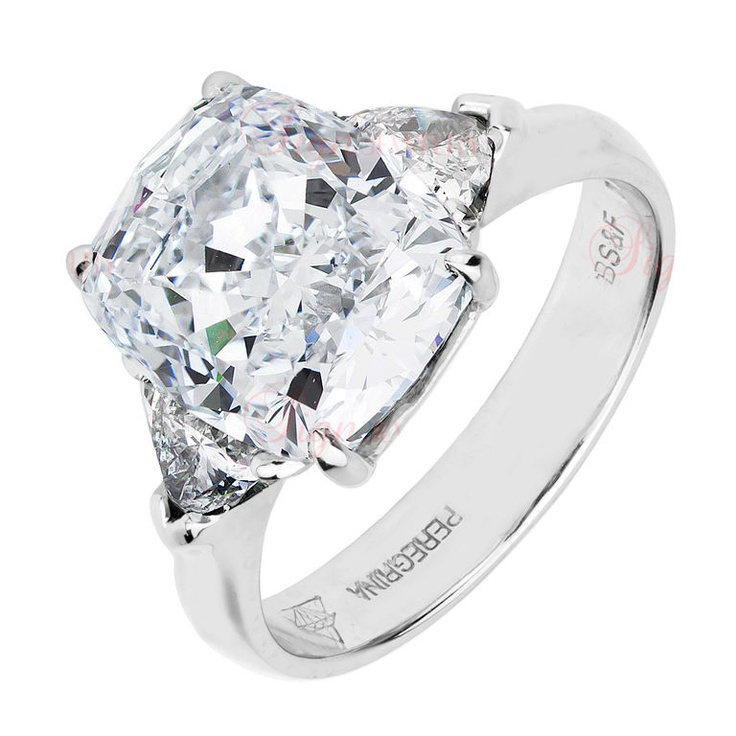 7.04 Carat Cushion &Trillion Cut Diamond Platinum Ring GIA