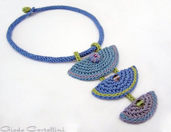 Necklace, cotton yarn, fiber, mid blue, light blue, lilac, lavender, pastel, apple green, crochet, 100% Vegan, crystals, ethnic, gypsy