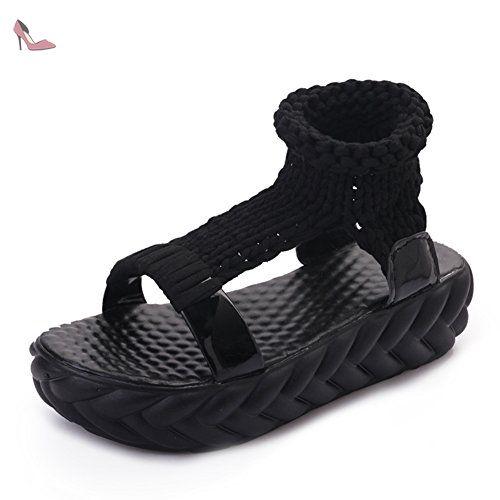 Summer Chaussures Occasionnelles Avec Des Semelles épaisses/Bottes Fraîches En Couleur Solide Open-toe-B Longueur du pied=23.3CM(9.2Inch) - Chaussures sandales (*Partner-Link)