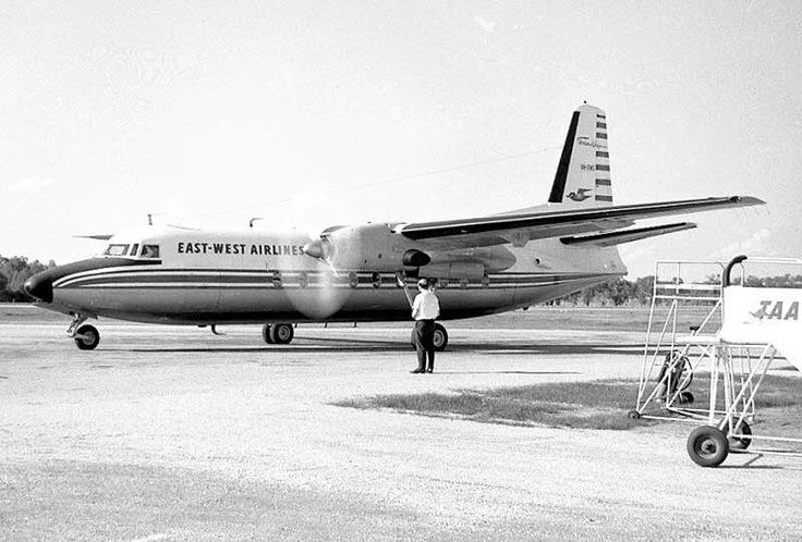 East West Airlines F.27 VH-EWG at Albury NSW in September 1965.  At the time it was their newest, delivered from Schiphol to Tamworth in January that year. Image Geoff Goodall