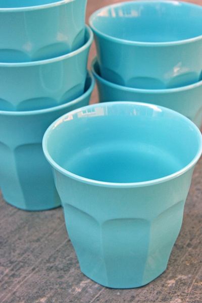 Coloured Melamine Cups - Turquoise: kid-friendly