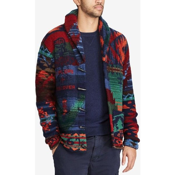 Polo Ralph Lauren Men's Iconic Patchwork Wool Cardigan ($1,295) ❤ liked on Polyvore featuring men's fashion, men's clothing, men's sweaters, multi patchwork, mens long cardigan sweater, mens wool shawl collar sweater, mens wool sweaters, mens shawl collar cardigan sweater and mens cardigan sweaters