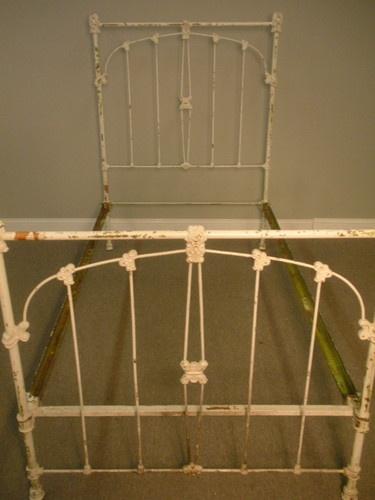 antique off white cast iron shabby chic twin bed frame massachusetts ebay - Ebay Bed Frames