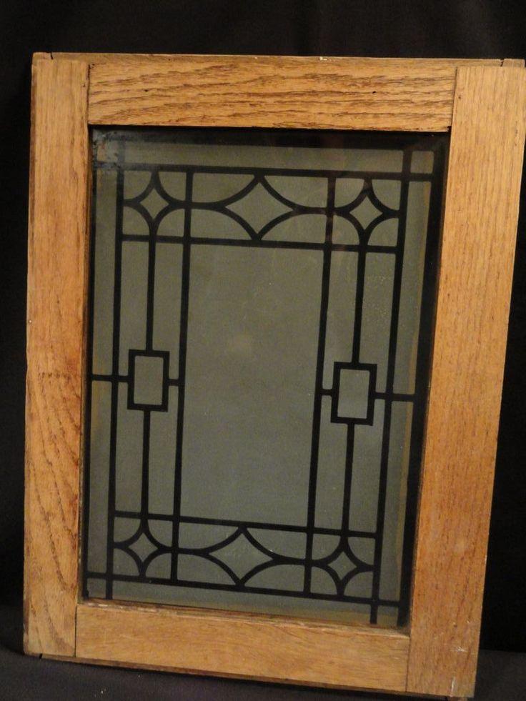 Antique Oak Cabinet Doors with Deco Design Etched Glass ...