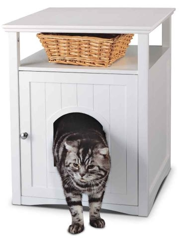 Pet Hideaway by Homezone  - Spice up the look of your kitchen, laundry room, or bathroom by placing your cat's messy litter box inside the HomeZone Kitty Litter House. Constructed of durable MDF and packaged KD with non-toxic white paint, the Kitty Litter House includes 2 shelves for additional storage space and an inside hook to keep the litter scoop within easy reach. - Price: $99.95 - #catlitterboxfurniture #cat #litter #box #furniture http://www.catbedandtoy.com/cat-litter-box-furniture