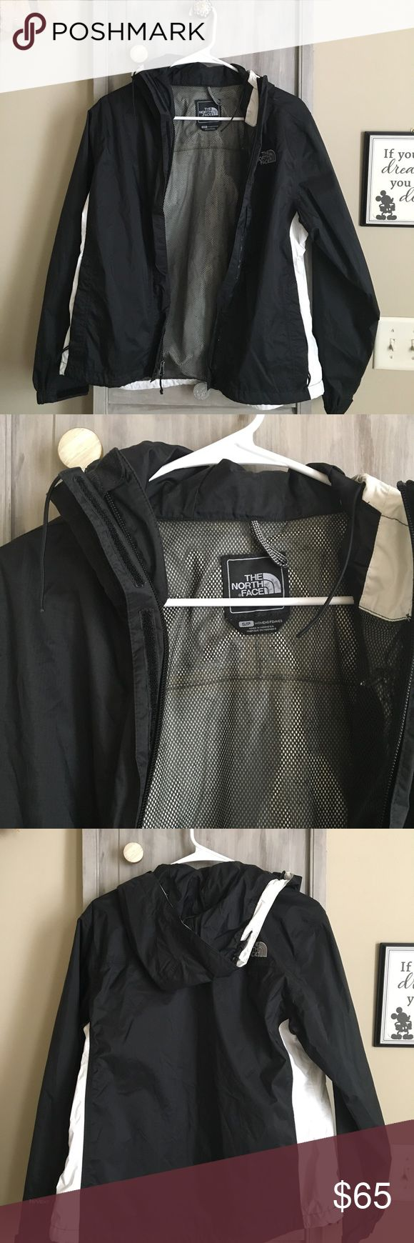 North Face Rain Jacket Jacket has been worn a few times, but barely shows it. The adjustable pieces for the hood of the jacket are missing, but hasn't been a problem for me personally! North Face Jackets & Coats