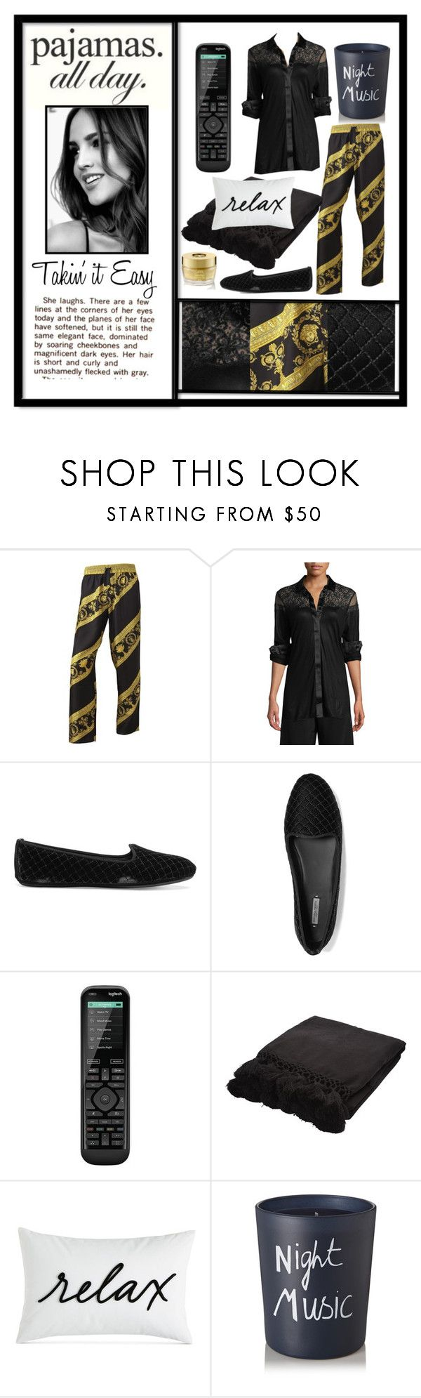 """Pajamas All Day"" by wildorchid21-1 ❤ liked on Polyvore featuring Versace, La Perla, Bottega Veneta, Logitech, Kate Spade, Charter Club, Bella Freud, Oribe, polyvorepresents and LovelyLoungewear"