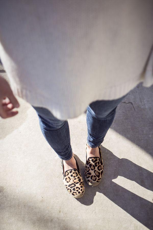 leopard espadrilles + cozy sweater