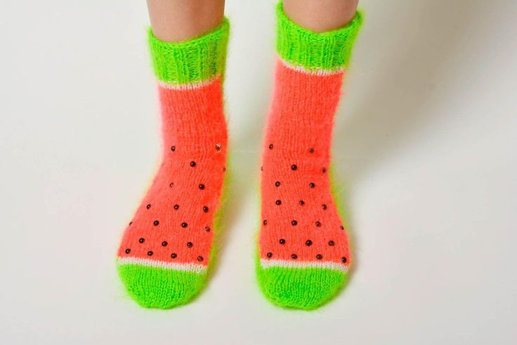 Handmade knitted socks made of wool bright warm ac from BrightStyle by DaWanda.com