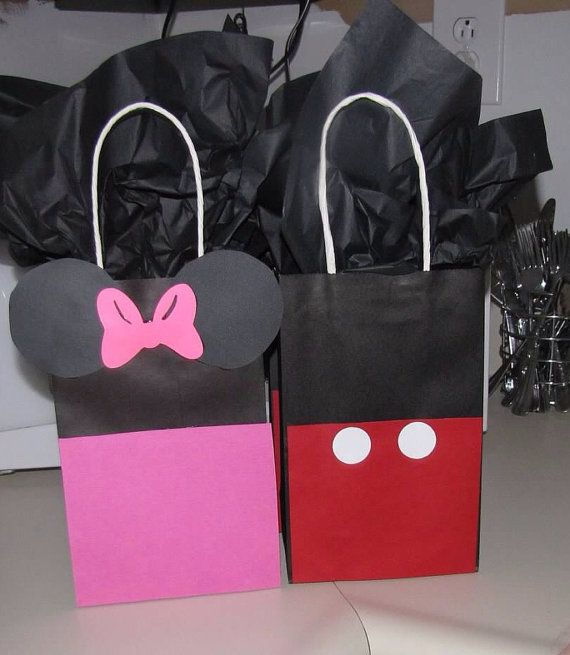 Mickey or Minnie Mouse favor goodie bag Birthdays on Etsy, $1.75
