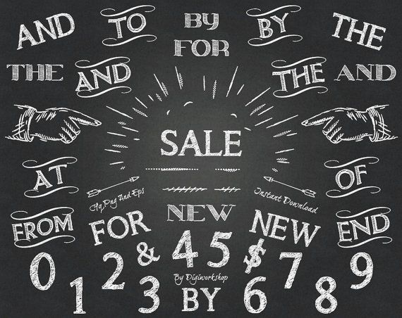 #Chalkboard Clip Art - #clipart with images of #words, wedding typography, letters, numbers  This amazing chalkboard clip art typography set contains 36 different chalkboard e... #etsy #digiworkshop #scrapbooking #illustration #creative #printables #cardmaking #numbers