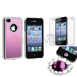 Pink Bling Luxury Cover Case For iPhone 4 4G 4S+Purple Diamond Home Sticker+SPT | eBay