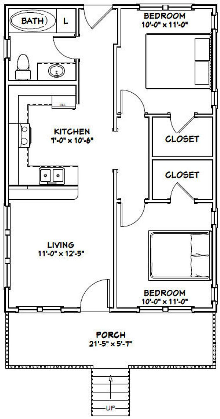 22x32 House 2Bedroom 1Bath 704 sq ft PDF Floor