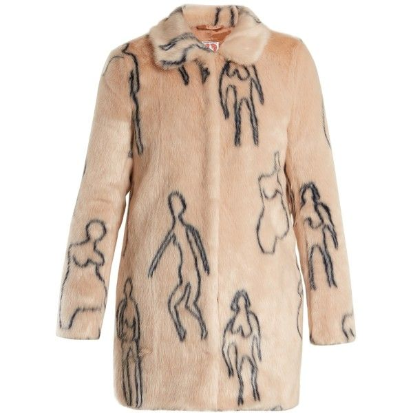 Shrimps Helga Nude Doodles-print faux-fur coat ($510) ❤ liked on Polyvore featuring outerwear, coats, vintage coats, beige faux fur coat, beige coat, imitation fur coats and faux fur coat