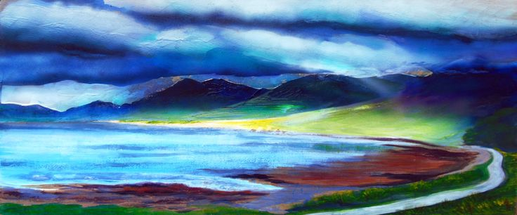 At the foot of Ben More print,ScotlandArt,Isle of Mull landscape,scenic drives,Scottish mountains,sun beams,dark colour&bright yellow,EtsyUK by PaintingsGallery on Etsy