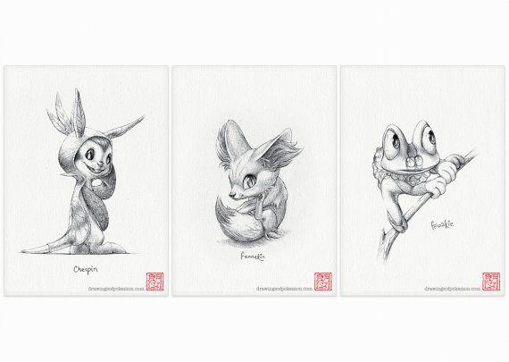 Gen 6 Pokémon starters  set of three 5 x 7 by DrawingsofHeroes, $22.00