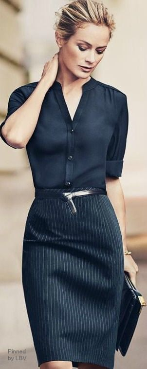 Black shirt with black stripe pencil skirt is both classic for the office and a fine dining
