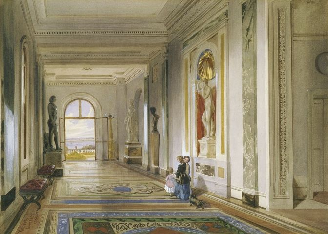 Osborne House: the Marble Corridor, 1852. The Marble Corridor linked the Household Wing with the family Pavilion. Prince Albert and Ludwig Gruner carefully planned the decoration, which included Minton tiles on the floor. The Corridor was used as a showcase for important pieces of sculpture, among them the Marine Venus, purchased by the Prince in 1848, which stands in an elaborate shell-headed niche.