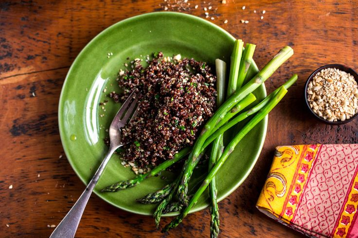 This salad is garnished with steamed asparagus and the Middle Eastern nut and spice mix called dukkah.