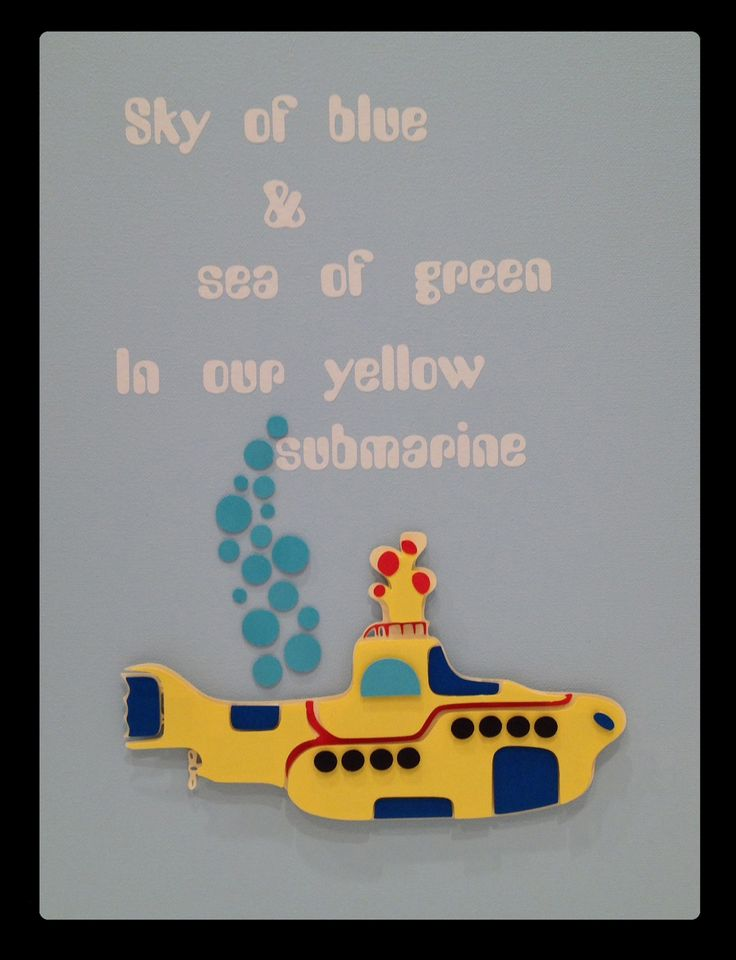 3D Nursery Art - Beatles Submarine - Sky of blue & sea of green In our yellow submarine