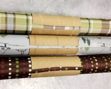 wrapping paper storage with toilet paper tubes.