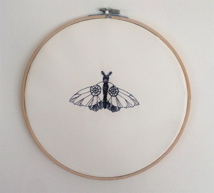 Blue moth. Embroidery on paper.