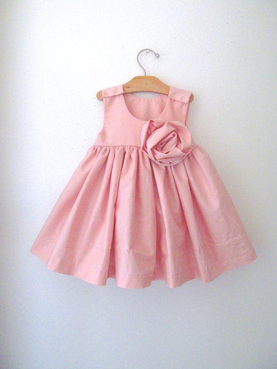 Vintage Inspired Cotton Dress in long or short style - Light Pink Dress - Flower Girl Dress