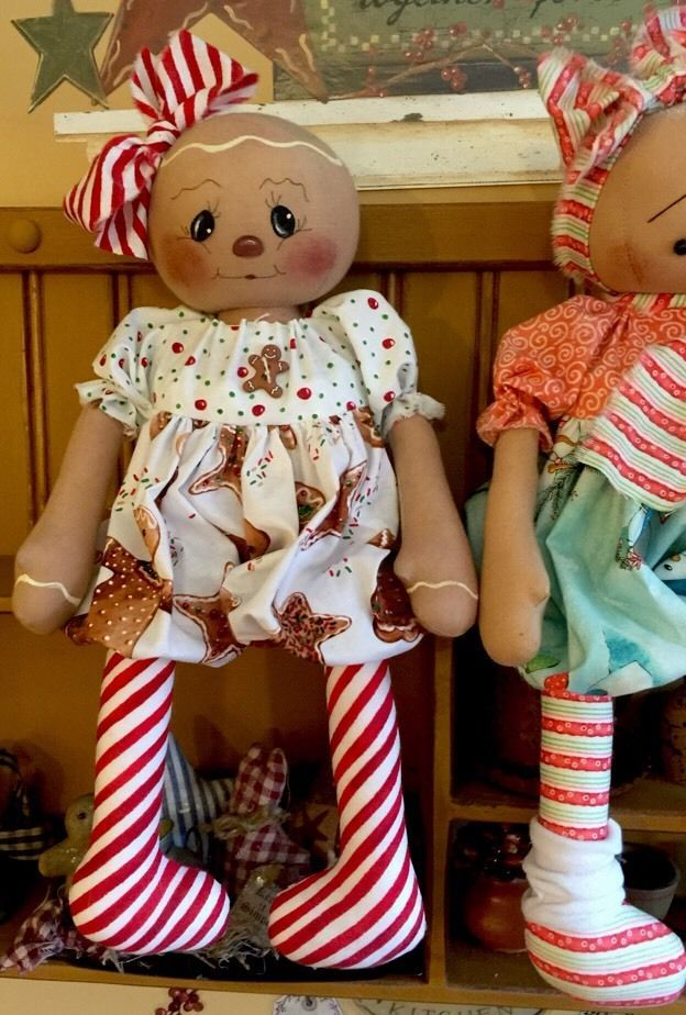 Primitive Folk Art Raggedy Gingerbread Doll #NaivePrimitive