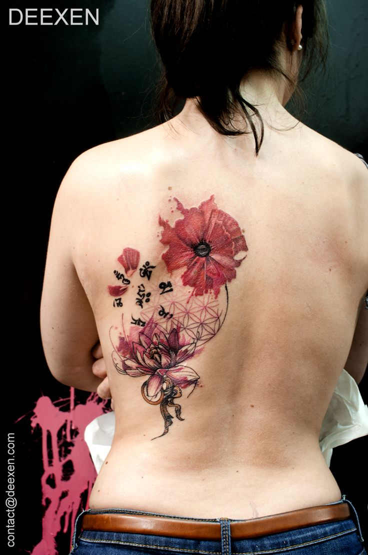 Distant Worlds #Watercolor #Graphic #Tattoo #Deexen #lotus #poppy