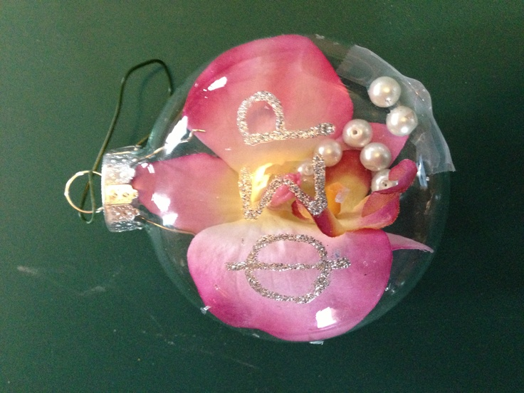 Phi sigma rho ornament with orchid and pearls inside