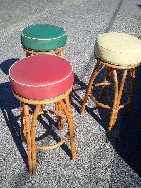 Heywood Wakefield vintage rattan barstools -tiki hawaiiana. $700.00, via Etsy.