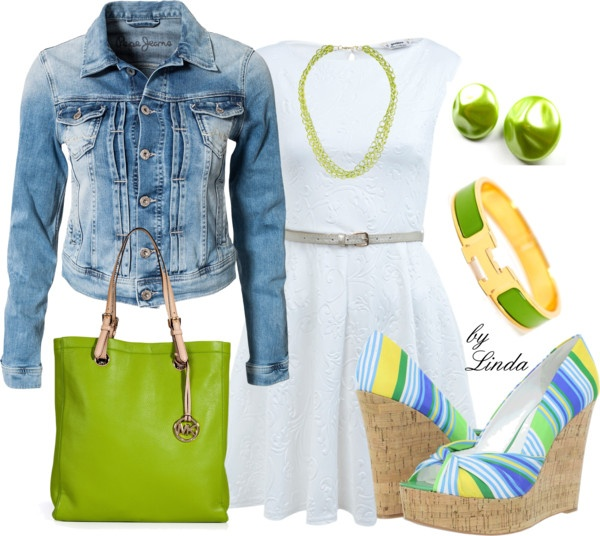 """Jeans, White, Lime green Outfit """"Ready for Spring - White  Lime Green"""" by lindakol on Polyvore"""