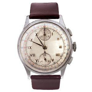 A classic style of 1940s Swiss gents vintage watch with a round, silver dial on a burgundy strap. This is a chronograph aviation watch with a manual wind and a statement of enduring style. #1940 #vintagewatch