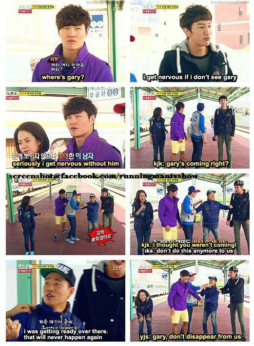 Gary scaring them when  When he decided to leave running man for a